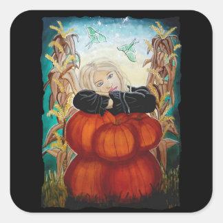 Punkin Pile - Pumpkins, Witch, Moon, Halloween Square Sticker