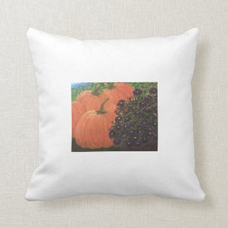 Punkins and Flowers Throw Pillow