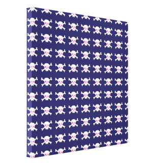 Punkrock Skulls on Midnight Blue Canvas Print