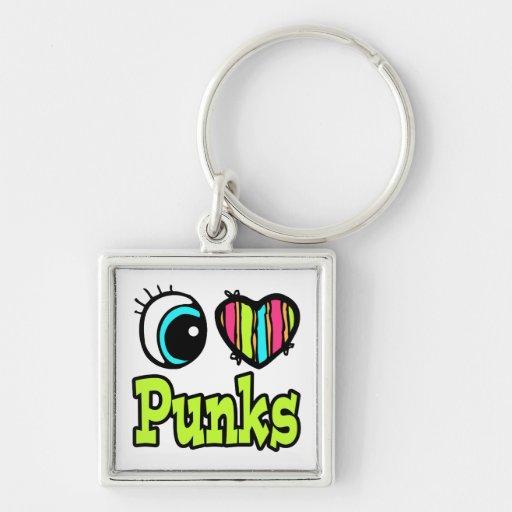 Punks brillantes del amor del corazón I del ojo Llavero Cuadrado Plateado
