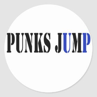Punks jump up to get beat down classic round sticker