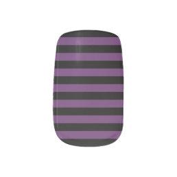 Punky Goth Black and Purple Stripes Minx Nail Wraps