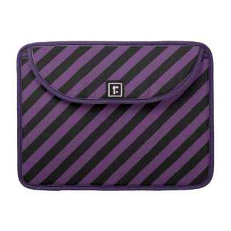 Punky Goth Black, Purple Diagonal Stripes 13 Inch MacBook Pro Sleeves