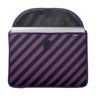 Punky Goth Black, Purple Diagonal Stripes 15 Inch Sleeve For MacBooks