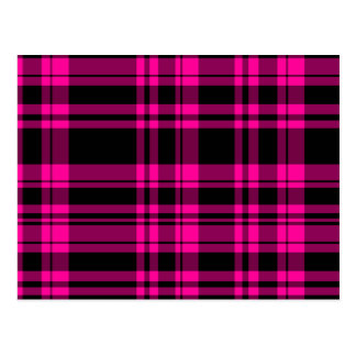 Punky Hot Pink Plaid Postcard