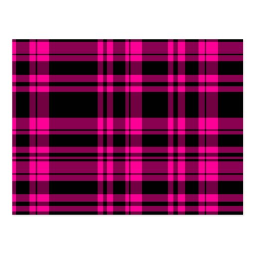 Punky Hot Pink Plaid Post Cards