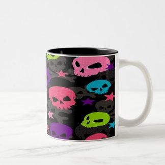 Punky Rainbow Sculls Two-Tone Coffee Mug