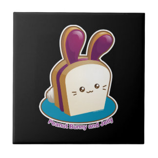 Punny Buns: Cute Peanut Butter and Jelly Bunny Ceramic Tile