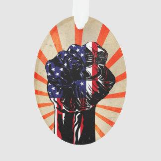 Puño americano patriótico del vintage con los rayo