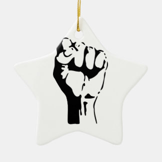 Puño aumentado del desafío/de la resistencia adorno navideño de cerámica en forma de estrella