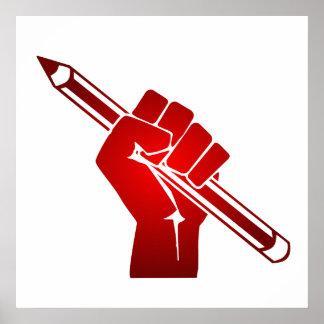 Puño aumentado que sostiene el lápiz póster