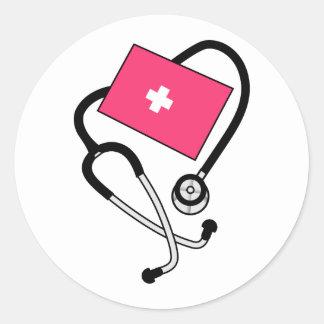 Puño de la presión arterial pegatina redonda