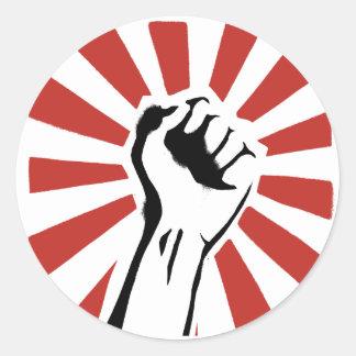 Puño de la revolución pegatina redonda