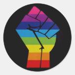 puño del arco iris pegatinas