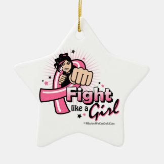 Puño del cáncer de pecho - lucha como un chica adorno de navidad