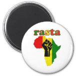 Puño del poder negro de Rasta sobre África Imán Redondo 5 Cm