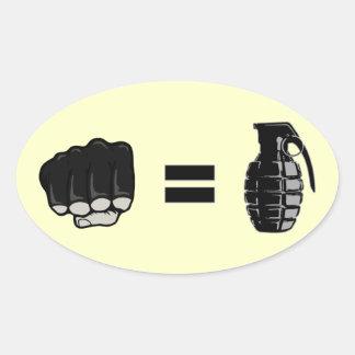 puño = granada pegatina ovalada