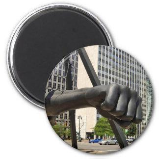 Puño negro Detroit Imán De Frigorifico