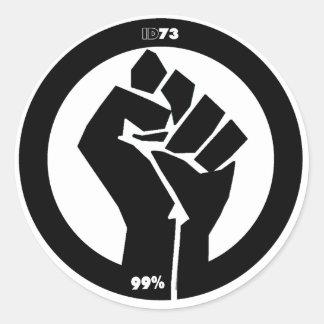 Puño #Occupy Etiquetas Redondas
