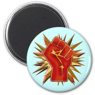 Puño rojo de la solidaridad a modificar para imán redondo 5 cm