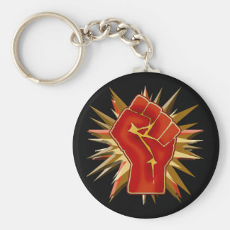 Puño rojo de la solidaridad a modificar para llavero redondo tipo pin