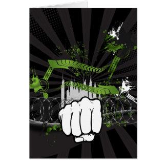 Puño urbano del Grunge - guerrero urbano Tarjeta De Felicitación