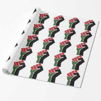 Puño verde rojo negro papel de regalo