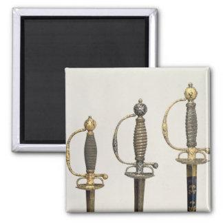 Puños de tres espadas francesas: uno de acero imán cuadrado