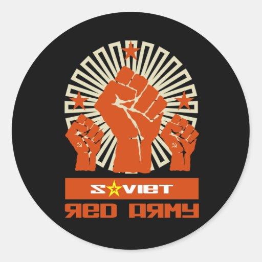Puños soviéticos del ejército rojo 3 pegatina redonda