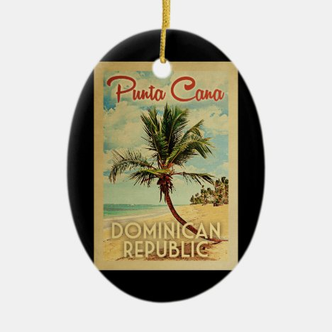 Punta Cana Dominican Palm Tree Beach Vintage Ceramic Ornament