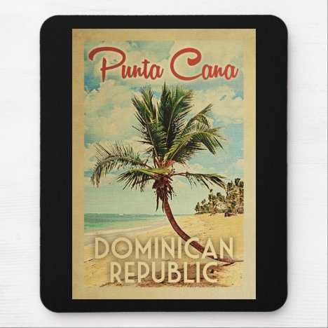 Punta Cana Dominican Republic Vintage Travel Mouse Pad