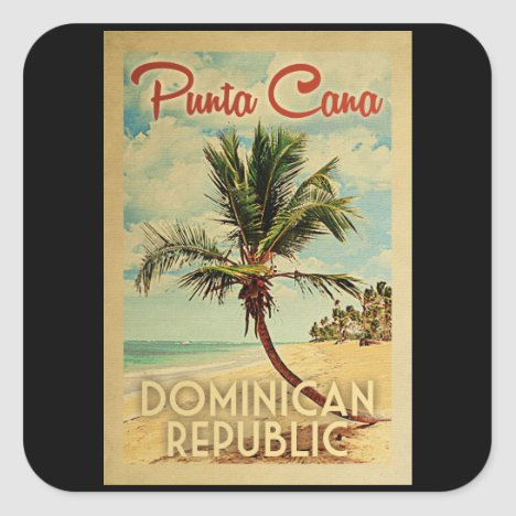Punta Cana Dominican Republic Vintage Travel Square Sticker
