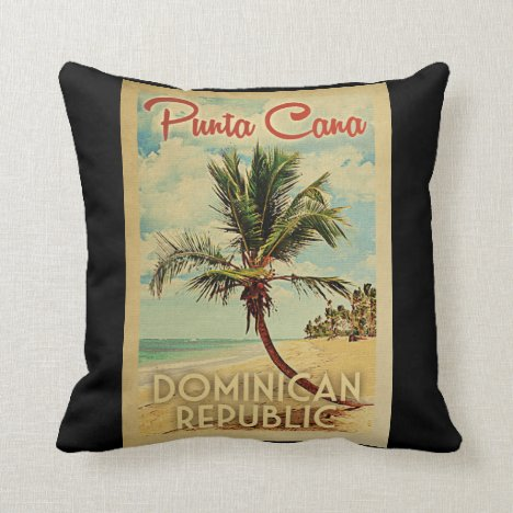 Punta Cana Dominican Republic Vintage Travel Throw Pillow