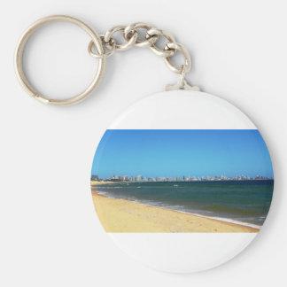 Punta Del Este Beach Basic Round Button Keychain
