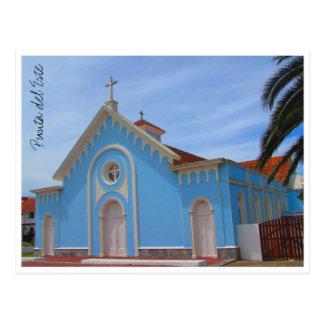punta del este blue church postcard
