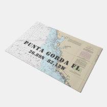 Punta Gorda FL Latitude Longitude Nautical Boating Doormat