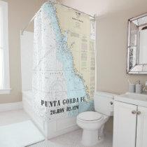Punta Gorda FL Latitude Longitude Nautical Chart Shower Curtain