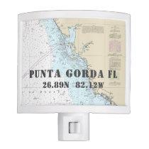 Punta Gorda FL Nautical Chart Coordinates Night Light