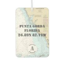 Punta Gorda FL Nautical Chart Monogram Car Air Freshener