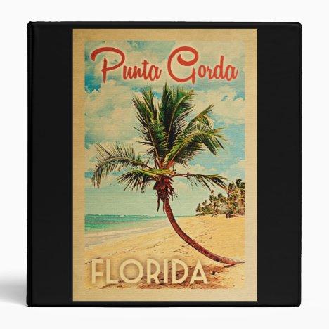 Punta Gorda Florida Palm Tree Beach Vintage Travel 3 Ring Binder