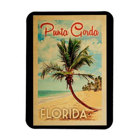 Punta Gorda Florida Palm Tree Beach Vintage Travel Magnet