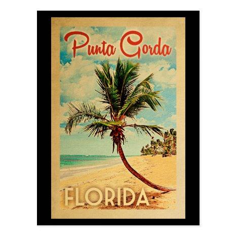 Punta Gorda Florida Palm Tree Beach Vintage Travel Postcard