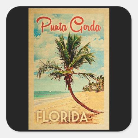 Punta Gorda Florida Palm Tree Beach Vintage Travel Square Sticker