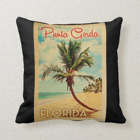 Punta Gorda Florida Palm Tree Beach Vintage Travel Throw Pillow