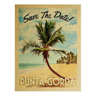 Punta Gorda Save The Date Vintage Beach Palm Tree Postcard