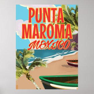 Punta Maroma Beach Mexico travel poster