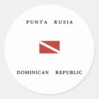 Punta Rusia Dominican Republic Scuba Dive Flag Round Sticker