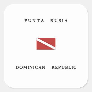 Punta Rusia Dominican Republic Scuba Dive Flag Square Sticker