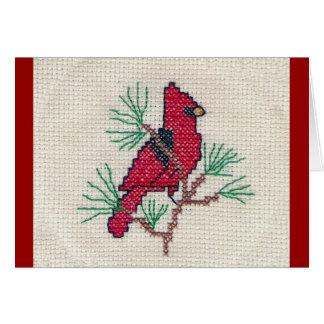 Puntada cruzada cardinal tarjeta de felicitación