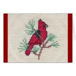Puntada cruzada cardinal tarjetas